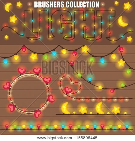 Christmas or New Year design with wooden background  christmas colorful lights garland. Various shapes star and moon, heart shape, light bulb. All brushes are in the swatches palette.