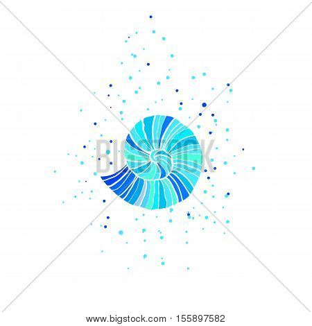 Illustration with turquoise ammonite. Sea theme. bright stylized illustration