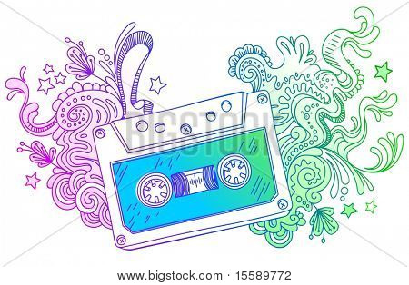 Hand drawn audio cassette with line art decor