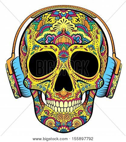 Vector colorful skull graphics with floral ornaments and earphones