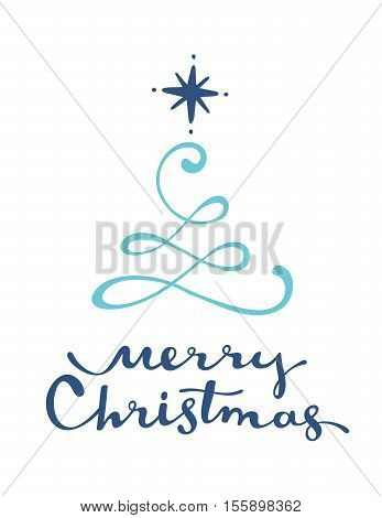 Vector Illustration Of Green Color Stylized Christmas Fir Tree With Handwritten Text Merry Christmas