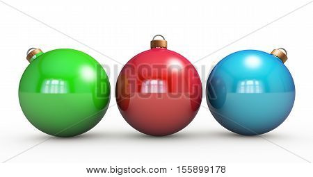 Multi-colored Christmas balls hanging on white. RGB colors. 3d render with HDR