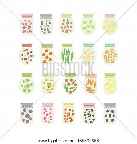 Set of homemade preserves. Jars icons isolated on white background. Jars with fruits vegetables and berries. elements in flat for design