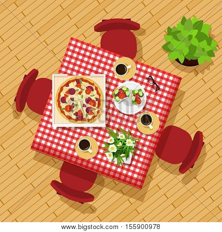Dining table top view. Stylish graphic set with table, chairs, cups, dishes and flowers. Beautiful kitchen table. Vector illustration.