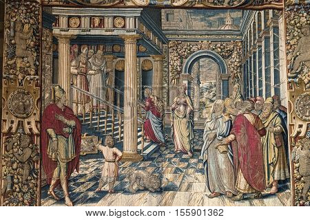 COMO, ITALY - JUNE 27, 2016: Como (Lombardy Italy): interior of the medieval cathedral built from 1396 to 1770. Tapestry