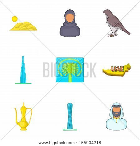 UAE country icons set. Cartoon illustration of 9 UAE country vector icons for web