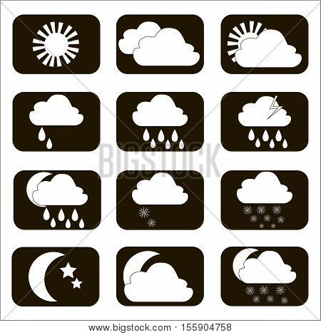 Set vector weather icons. Black and white. Illustration.