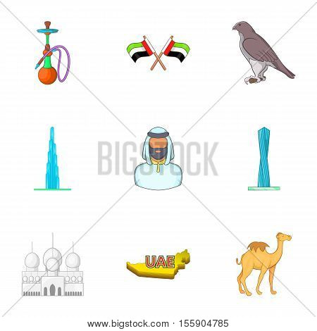 State of UAE icons set. Cartoon illustration of 9 state of UAE vector icons for web