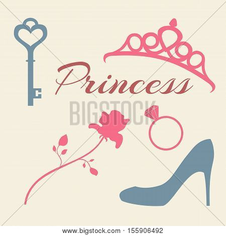 Set of flat icons princess. Rose diadem key ring and shoe