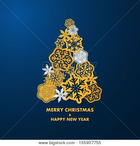 New year card with Christmas tree made of yellow and white 3d snowflakes on dark blue background. Holiday background for card, placard, flyer, poster, banner, web.