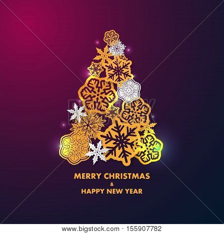 New year card with Christmas tree made of gold and white 3d snowflakes on dark purple background. Holiday background for card, placard, flyer, poster, banner, web.
