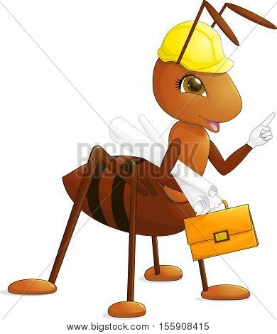 Red ant architect engineer builder with antennae and brown eyes in a yellow construction helmet with the drawing and orange briefcase with clasp