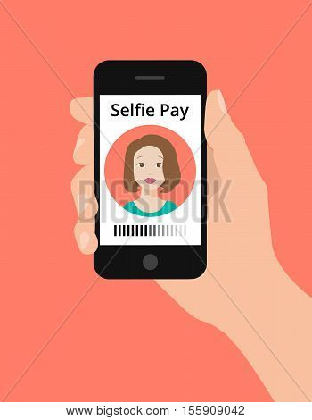 Modern flat design illustration hand hold smart phone selfie pay concept. Selfie pay is a money transfer method with smart phone