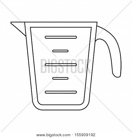 Measuring cup icon in outline style isolated on white background. Kitchen symbol vector illustration.
