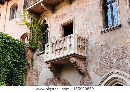 The famous balcony of the Juliet's House in Verona Italy.