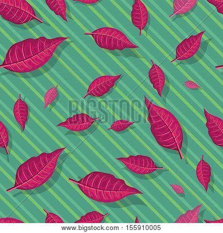 Leaves vector seamless pattern. Flat style illustration. Falling red tree leaves on green background. Autumn defoliation. For wrapping paper, greeting card, invitation, printing materials design