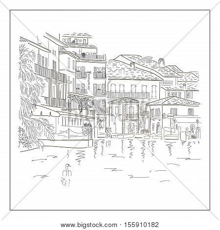 Old europian town on the lake. Hand drawn sketch. Vector illustration.