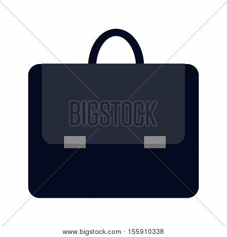 Dark blue briefcase icon in flat. Leather briefcase with handle and clasps. Businessman accessory. Business design element. Isolated vector illustration on white background.