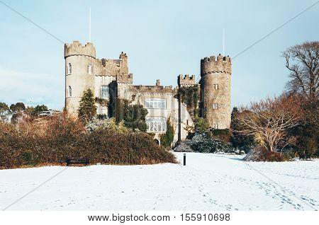 Malahide Castle in snow Co. Dublin Ireland.