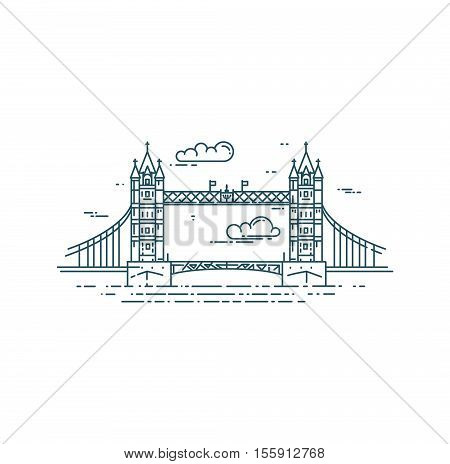 Tower Bridge in London. Modern flat line vector illustration. Thames river.