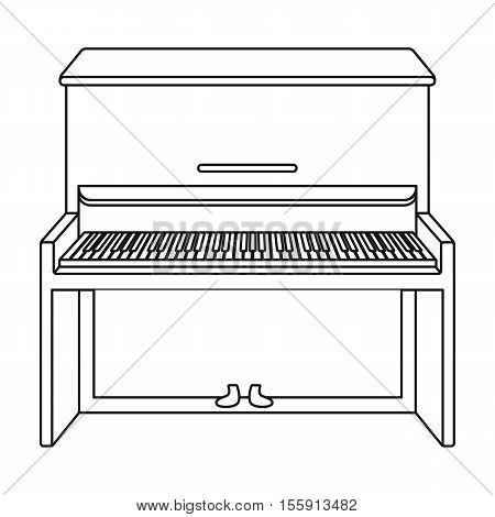Piano icon in outline style isolated on white background. Musical instruments symbol vector illustration