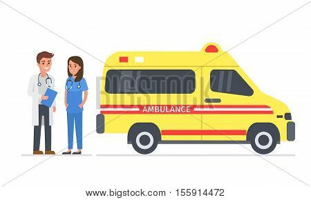 Emergency medical service. Vector illustration. Paramedics team standing near ambulance vehicle.