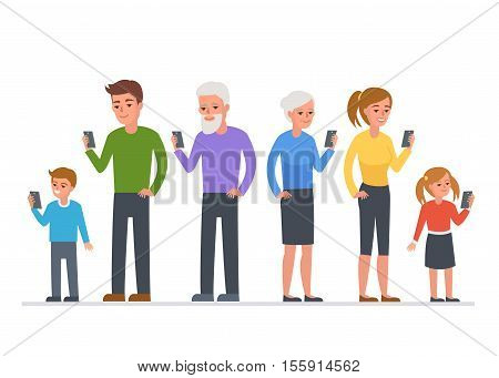 People of different ages use smartphone. Vector concept illustration.
