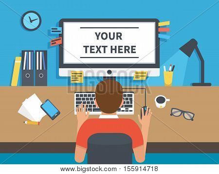 Office interior banner and monitor screen with text place. Vector infographic element.