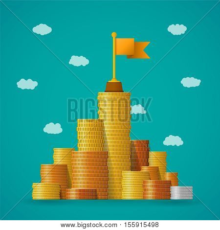 Financial Leadership Vector Concept With Coin Piles In Flat Style