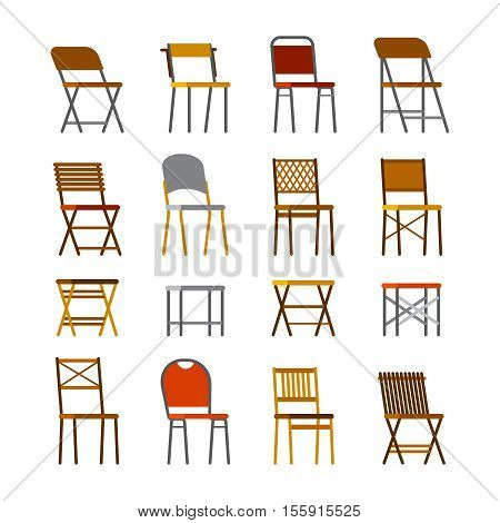 Office chairs set in flat style. Isolated on white.