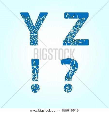 Winter abc. Letters Y Z. Vector set
