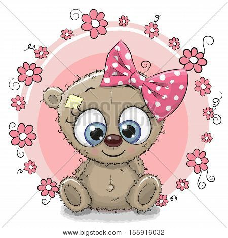 Greeting card Bear with flowers on a pink background