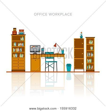 Vector Office Workplace Scene Template In Flat Style