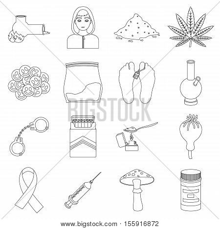 Drugs set icons in outline style. Big collection of drugs vector symbol stock