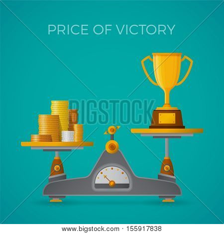 Price Of Victory Vector Concept In Flat Style With Goblet