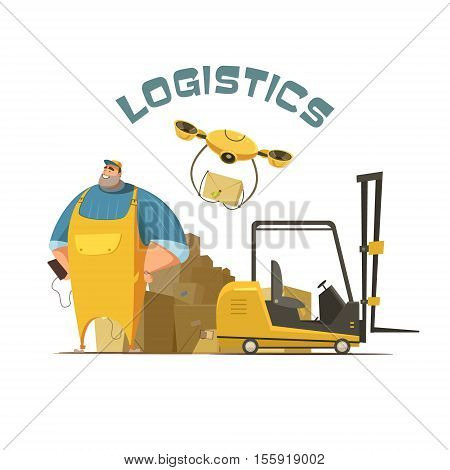Logistics retro cartoon concept with worker loader and boxes vector illustration