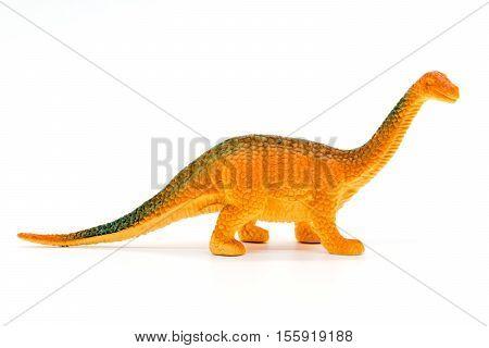 Brachiosaurus dinosaur toy model on white background