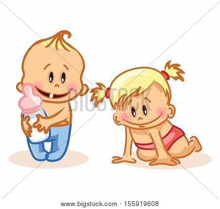Vector illustration of baby boy and baby girl