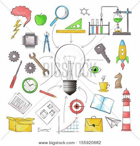 Modern color pencils style vector illustration concept of big idea in the form of bulb lamp with different objects for graphic and web design
