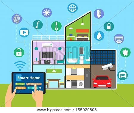 Modern flat design vector illustration concept of technology smart house with control of any house systems: lighting security video surveillance and others