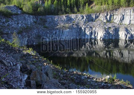 Marble quarry in Ruskeala Republic of Karelia Russia. View from above