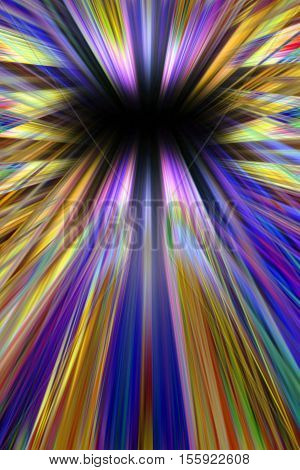 Colourful purple and orange starburst explosion background with black copy space