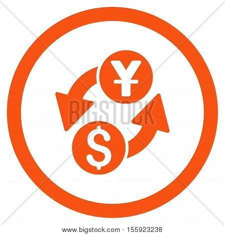 Dollar Yuan Exchange rounded icon. Vector illustration style is flat iconic symbol, orange color, white background.