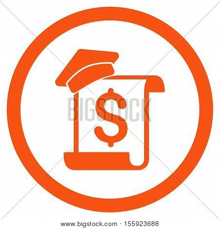 Education Invoice rounded icon. Vector illustration style is flat iconic symbol, orange color, white background.
