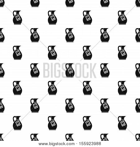 Jug of olive oil pattern. Simple illustration of jug of olive oil vector pattern for web