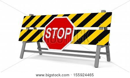 Repair barrier with STOP sign on a white background represents work in progress three-dimensional rendering 3D illustration