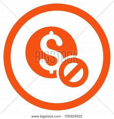 Free of Charge rounded icon. Vector illustration style is flat iconic symbol, orange color, white background.