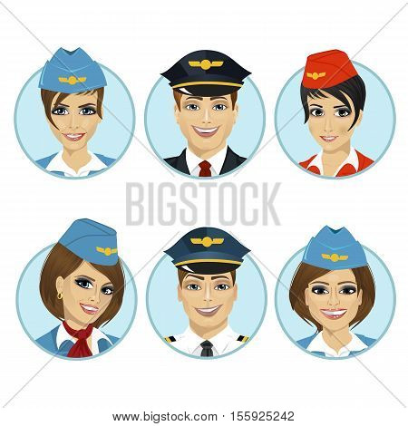 air crew member avatars of pilots and stewardesses over white background