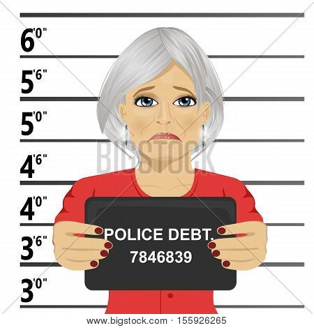 Arrested senior woman posing for a mugshot holding a signboard