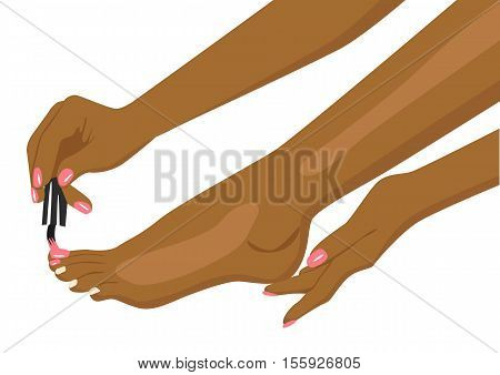 african american woman applying nail polish on her toes over white background